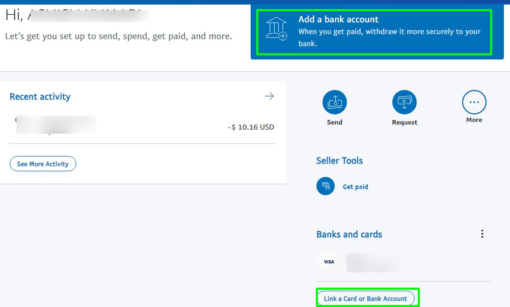 add a bank account with paypal