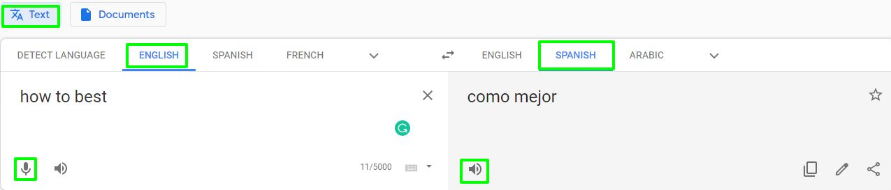 Google Translate English to Spanish