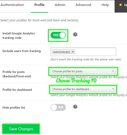 choose tracking id