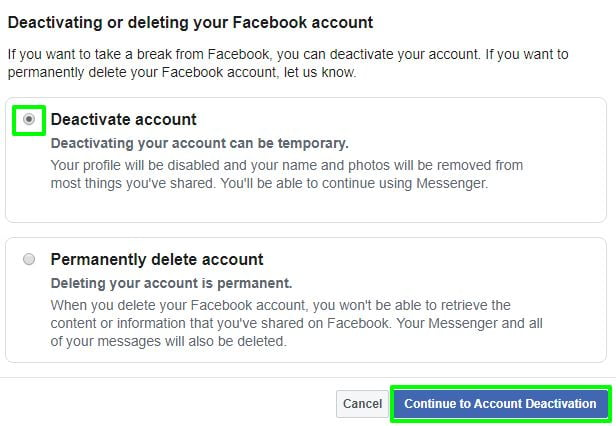 continue to account deactivation