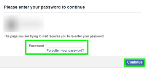 enter password and continue