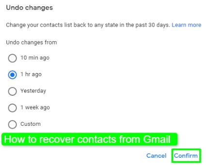 How to recover contacts from Gmail