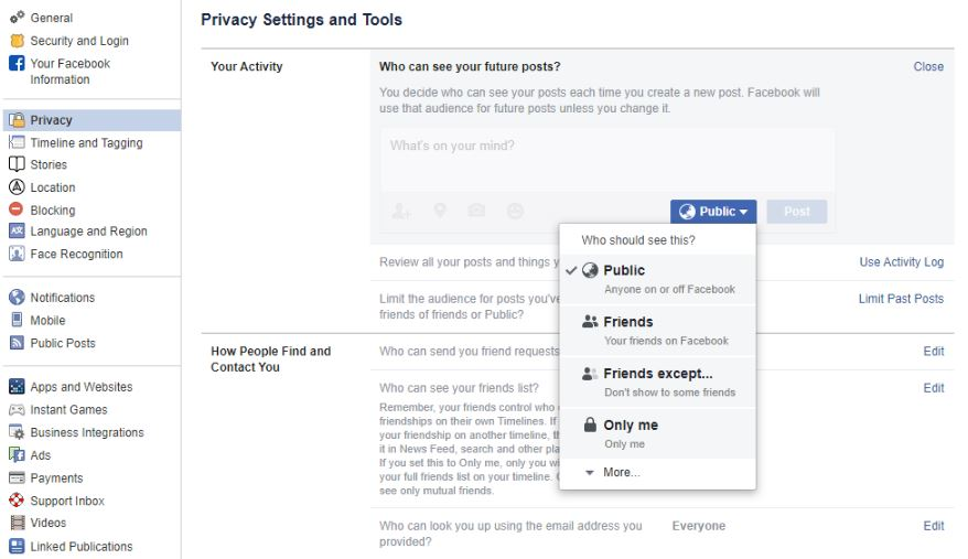change privacy setting