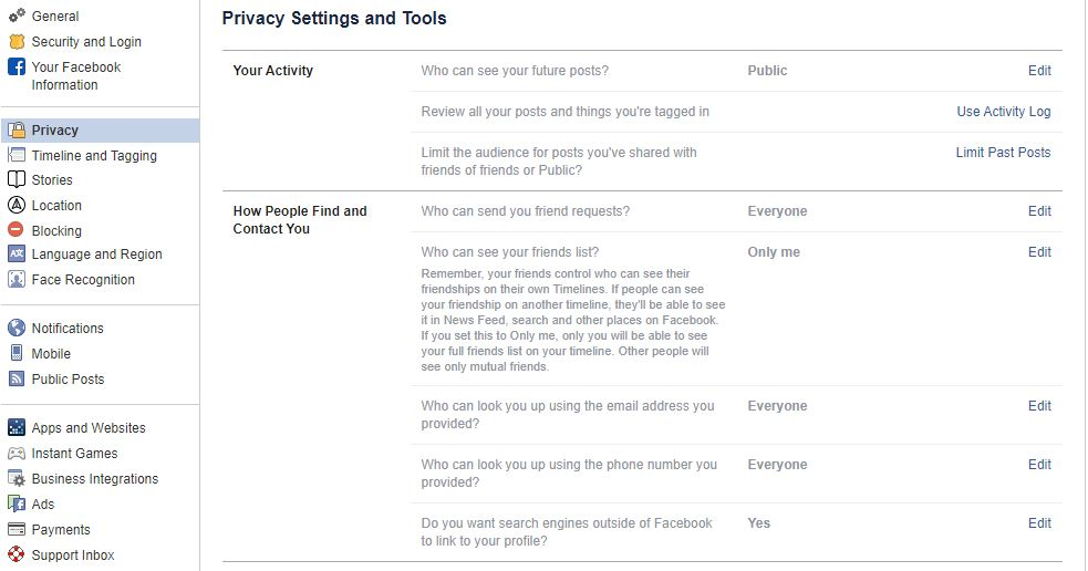 click on facebook privacy