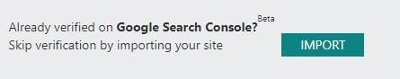 google search console import