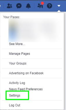 tap on facebook setting