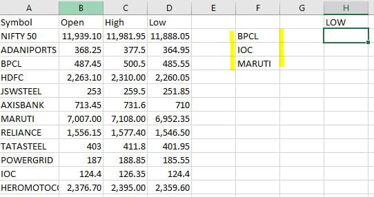 write data you want in column wise