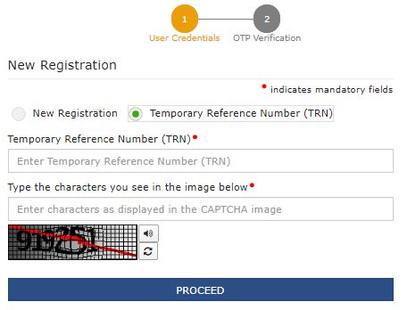 Enter Temporary Reference Number and Verify