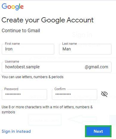 Enter your basic information for gmail id create