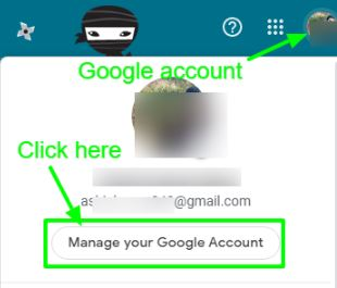 Tap on Manage your Google Account