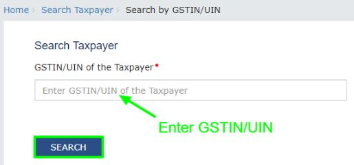 enter gstin number and search