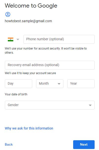 enter phone number, recover email, dob and gender for gmail email sign in