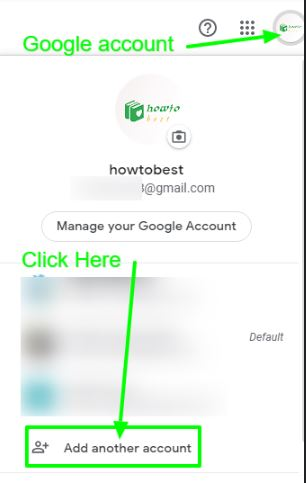 for gmail new account click on add another account