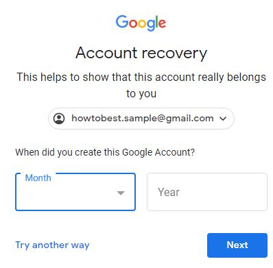 security question on Gmail password recovery