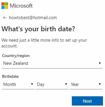 Select country and Date of Birth