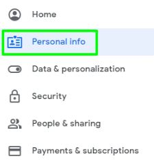 Click on Personal Info