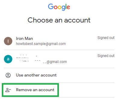 Click on Remove an account