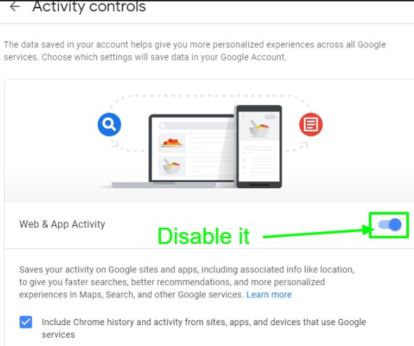 Disable Google Activity