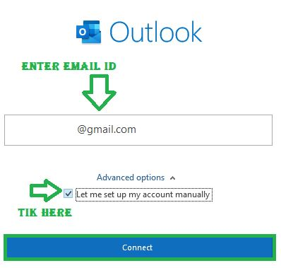 Enter your Gmail account id and Tik mark on Let me Setup my Account manually then click Connect