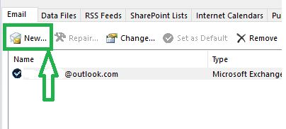 In the Account Settings dialog box, click on New