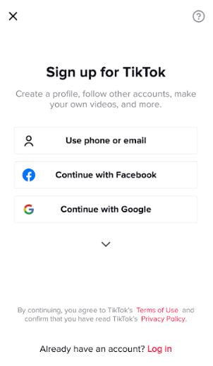 Sign Up for TikTok through Phone Email Fb Instagram