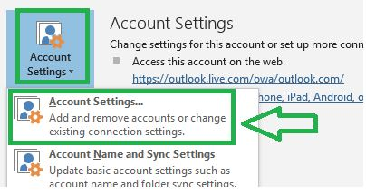 Tap on File and click Account Setting then select Account Settings