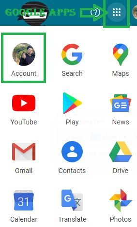 click on Account for change gmail profile picture