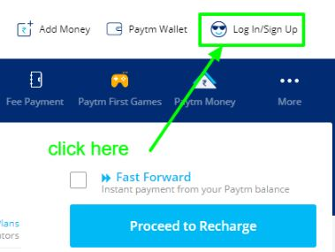 for create paytm account click on sign up or login