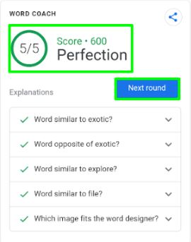 google word coach score