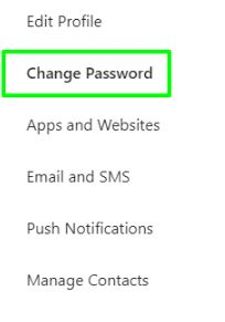 Click on Change Password Instagram