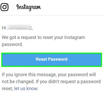 Click on Reset instagram Password