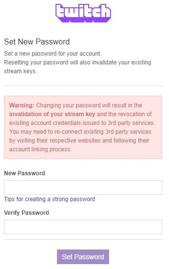 Enter New and Verify Password then click Set Password