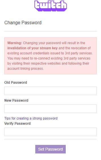 Twitch Change Password