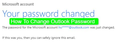How To Change Outlook Password