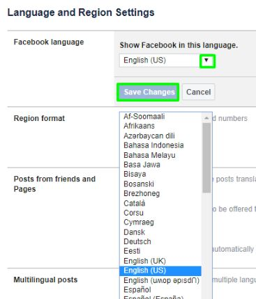 How to Facebook Language Changed