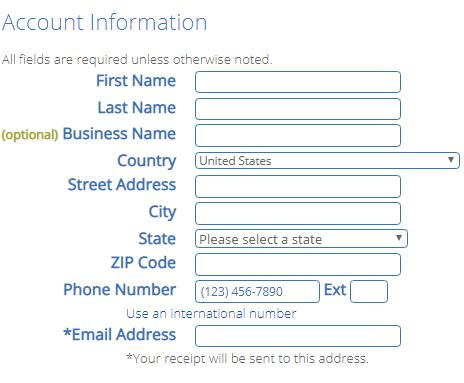 bluehost account info
