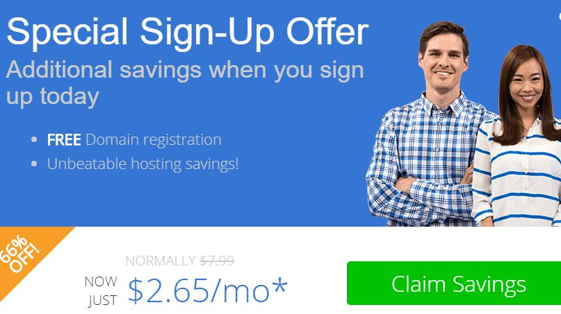 Bluehost sign up offer