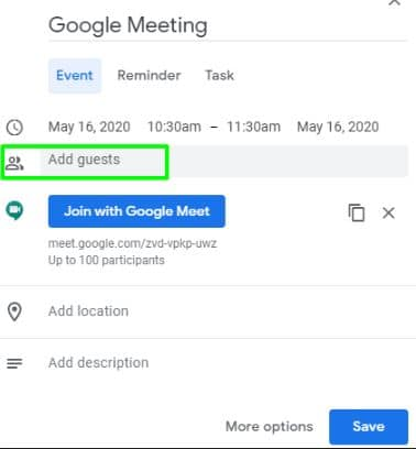 Add Guest on Google calender for Google meeting